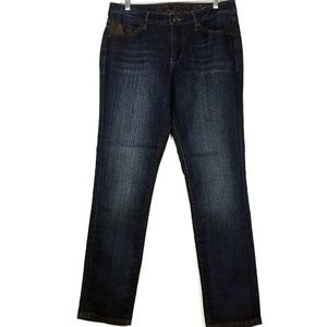 JAG Dark Wash Denim Skinny Jeans with Faux Leather